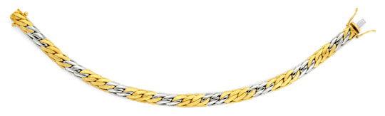 Foto 1, Gewölbtes Goldarmband Gelbgold Weissgold 14K/585 Luxus!, K2070