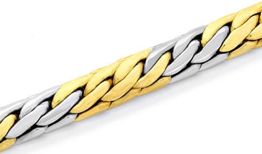 Foto 2, Gewölbtes Goldarmband Gelbgold Weissgold 14K/585 Luxus!, K2070