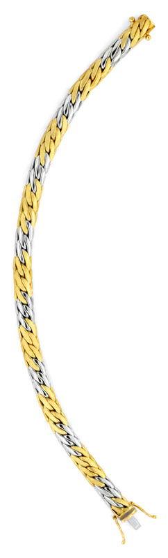 Foto 3, Gewölbtes Goldarmband Gelbgold Weissgold 14K/585 Luxus!, K2070