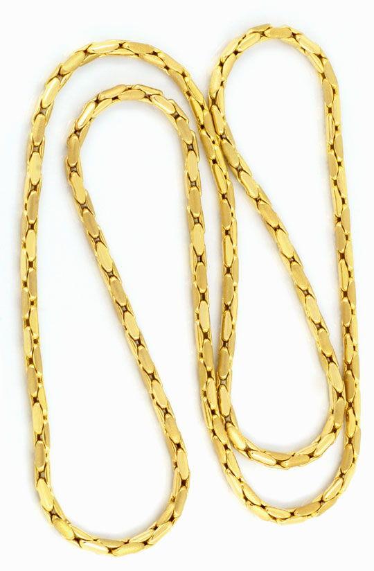 Foto 3, Anker-Gold-Kette 90cm Gelbgold 18K Teil-Mattiert Luxus!, K2073
