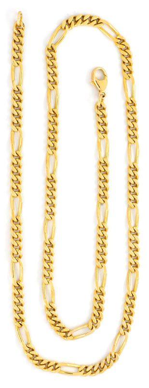 Foto 3, Goldkette Figaro, massive Gelbgold Kette 14K Luxus! Neu, K2074
