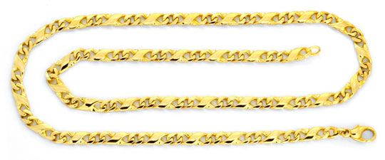 Foto 1, Dollar Goldkette, massiv Gelbgold 585, Karabiner Luxus!, K2076