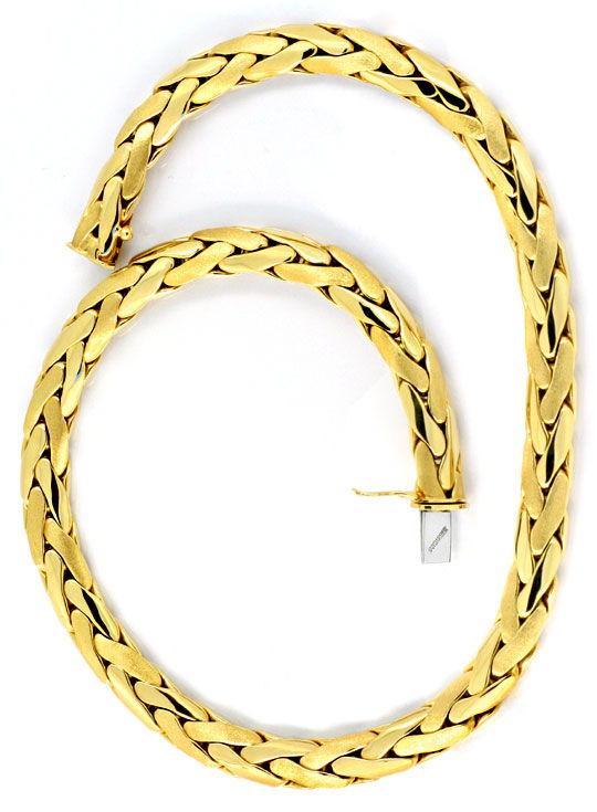 Foto 3, Zopf Kette Goldkette Kollier Collier, Handarbeit Luxus!, K2087