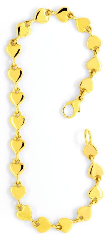 Foto 4, Armband und Kette aus Herzen massiv 750 Gold Luxus! Neu, K2093