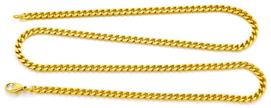 Foto 1, Massive Flachpanzer Kette, Goldkette 14K/585 Luxus! Neu, K2096