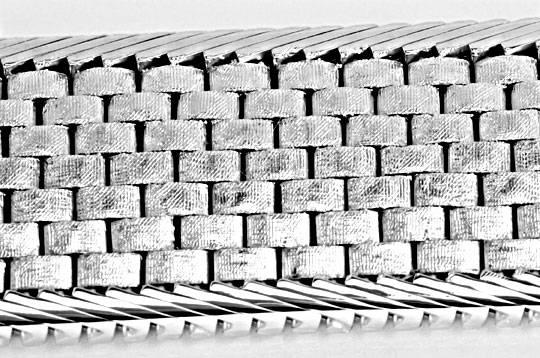 Foto 2, Breites Weissgold Armband Backstein 14K/585 Luxus! Neu!, K2099