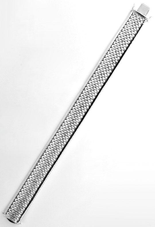 Foto 3, Breites Weissgold Armband Backstein 14K/585 Luxus! Neu!, K2099