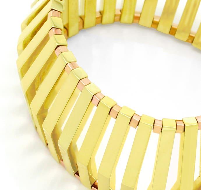 Foto 2, Seltenes Designer Gold-Armband 14K Gelbgold und Rotgold, K2100