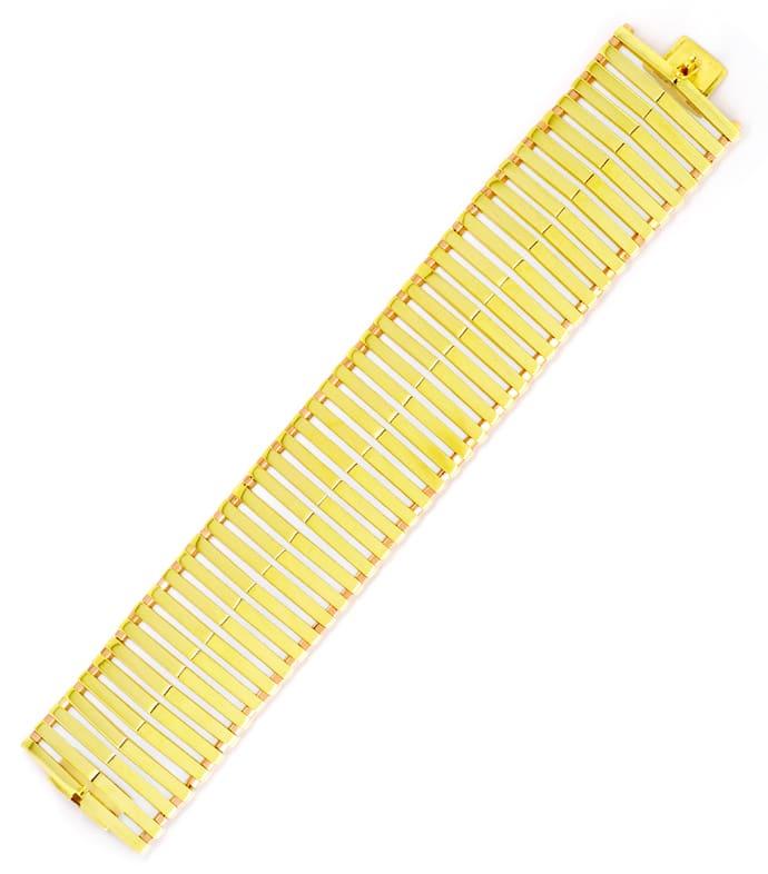 Foto 3, Seltenes Designer Gold-Armband 14K Gelbgold und Rotgold, K2100