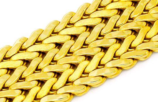 Foto 2, Breites Gold-Armband Gelbgold Teil-Mattiert Luxus! Neu!, K2101