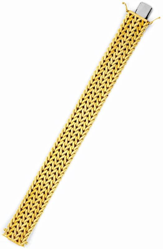 Foto 3, Breites Gold-Armband Gelbgold Teil-Mattiert Luxus! Neu!, K2101