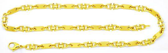 Foto 1, Gold Kette Plättchen und Steigbügel, massives Gelb Gold, K2103