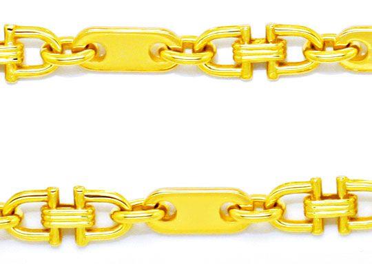 Foto 2, Gold Kette Plättchen und Steigbügel, massives Gelb Gold, K2103