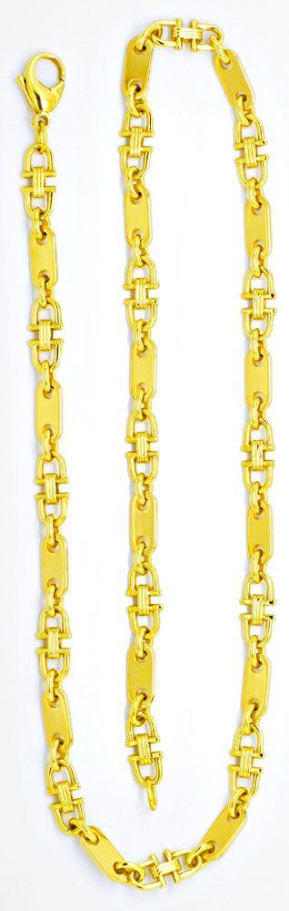 Foto 3, Gold Kette Plättchen und Steigbügel, massives Gelb Gold, K2103
