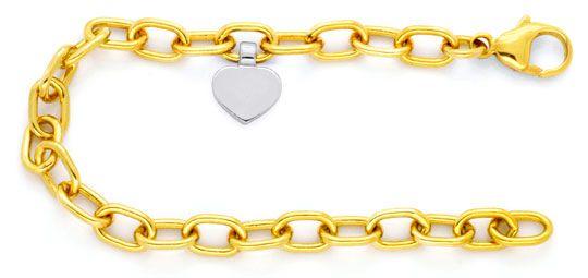 Foto 1, Anker Gelbgold Armband massiv, Herz Goldanhänger Luxus!, K2105
