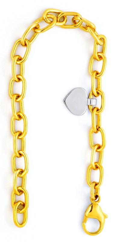 Foto 2, Anker Gelbgold Armband massiv, Herz Goldanhänger Luxus!, K2105