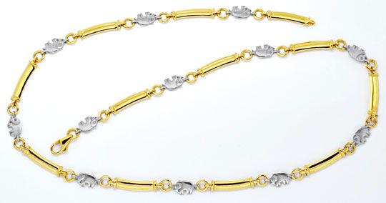 Foto 1, Elefanten Stegplatten Goldkollier Gelb-Weissgold Luxus!, K2115