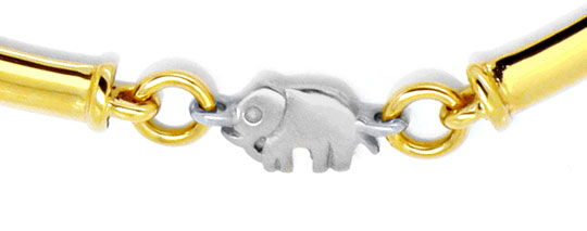 Foto 2, Elefanten Stegplatten Goldkollier Gelb-Weissgold Luxus!, K2115
