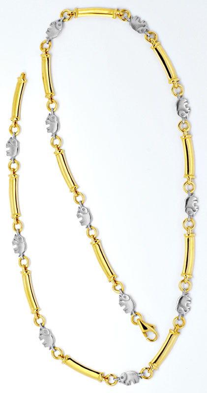 Foto 3, Elefanten Stegplatten Goldkollier Gelb-Weissgold Luxus!, K2115