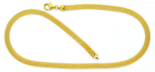 Foto 1, Goldkollier Goldkette Strumpf Muster Oval Gelbgold Shop, K2117