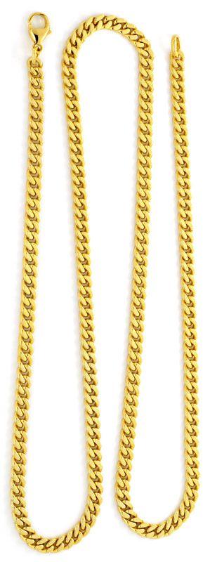 Foto 3, Set Goldkette und Goldarmband massiv Flachpanzer Luxus!, K2119