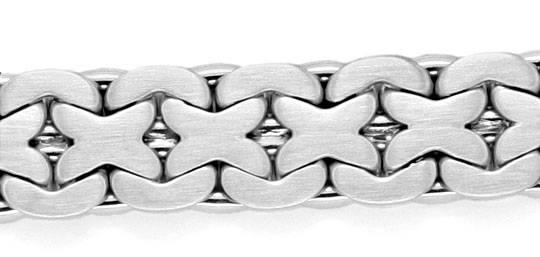 Foto 2, Gold-Armband massiv Weissgold Design-Flachpanzer Luxus!, K2122
