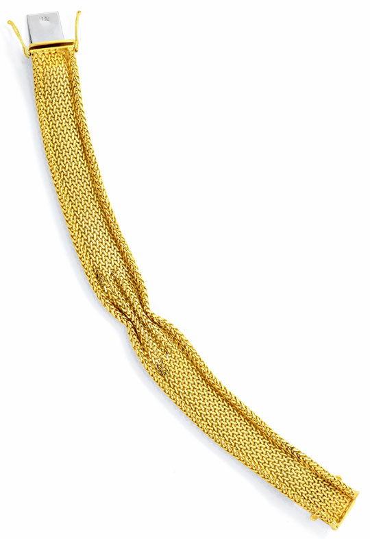 Foto 4, Goldarmband massiv 18K/750 Geflochten Faltenwurf Luxus!, K2125