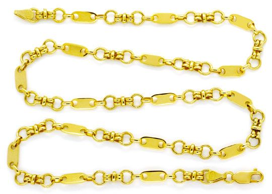 Foto 1, Designer Gold-Kette Plättchen Ösen Doppel-Achter Luxus!, K2129
