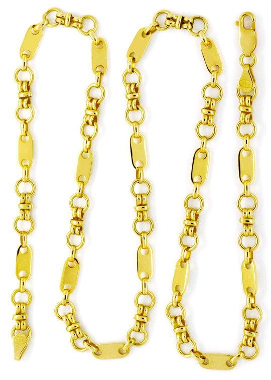 Foto 3, Designer Gold-Kette Plättchen Ösen Doppel-Achter Luxus!, K2129