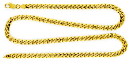 Foto 1 - Gold Kette massiv gewölbte Flachpanzer Gelb Gold Luxus!, K2130