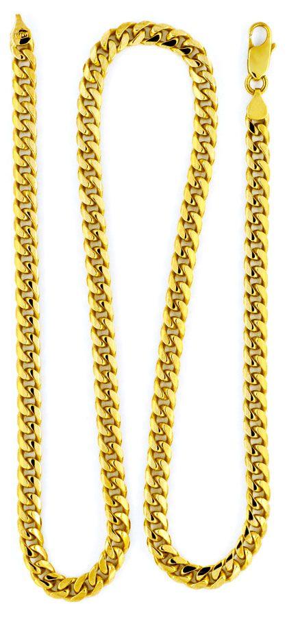 Foto 2, Gold-Kette massiv gewölbte Flachpanzer Gelb-Gold Luxus!, K2130