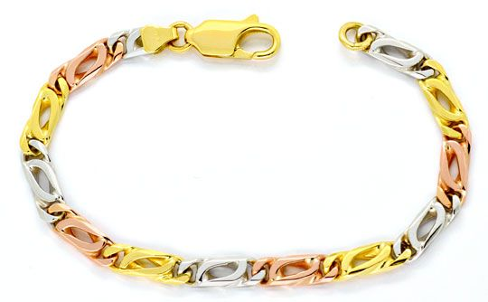Foto 1, Armband Pfauenauge Gelb Gold Weiss Gold Rot Gold Luxus!, K2132