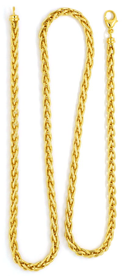 Foto 3, Massive Zopf-Kette Goldkette massiv 18K Gelbgold Luxus!, K2134