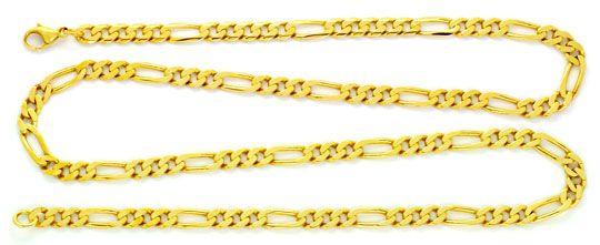Foto 1, Figaro-Flachpanzerkette Goldkette massiv 14K/585 Luxus!, K2135