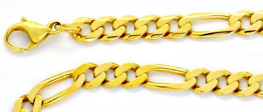 Foto 2, Figaro-Flachpanzerkette Goldkette massiv 14K/585 Luxus!, K2135