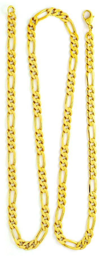 Foto 3 - Figaro Flachpanzerkette Goldkette massiv 14K/585 Luxus!, K2135