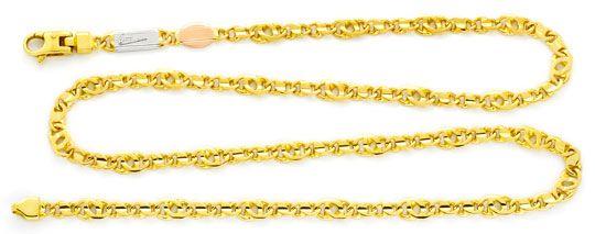 Foto 1, Pfauenauge / Tigerauge Gelb-Weiss-Rot-Gold-Kette Luxus!, K2136