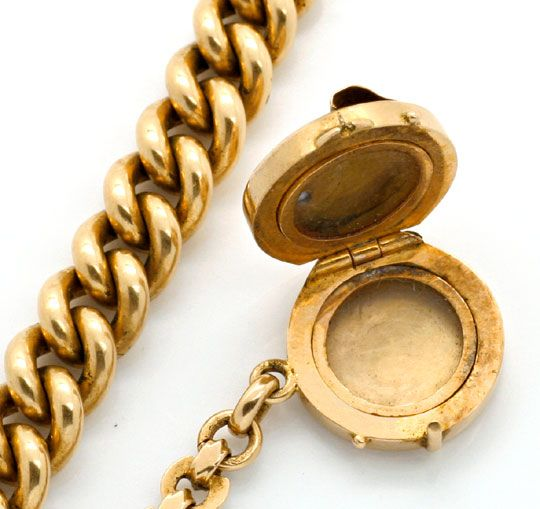 Foto 2, Gold Uhrkette Rubin Safir Diamant Perl Medaillon Luxus!, K2142