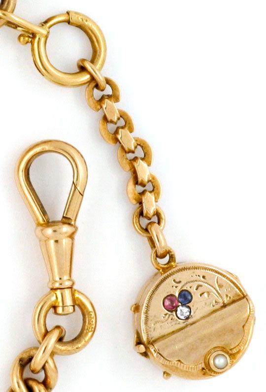 Foto 4, Gold Uhrkette Rubin Safir Diamant Perl Medaillon Luxus!, K2142