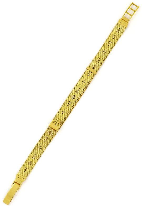 Foto 3, Antikes Flecht-Gelbgoldarmband Längenverstellbar Luxus!, K2151