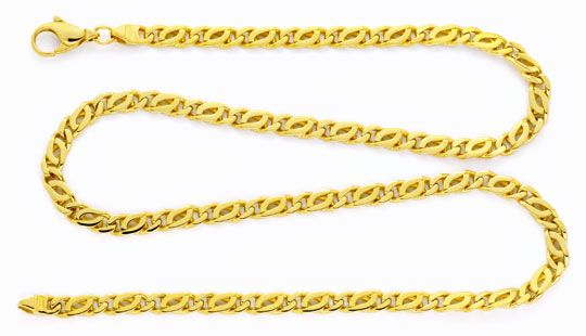 Foto 1, Goldkette, Pfauenauge Tigerauge, massiv 750 Gold Luxus!, K2154