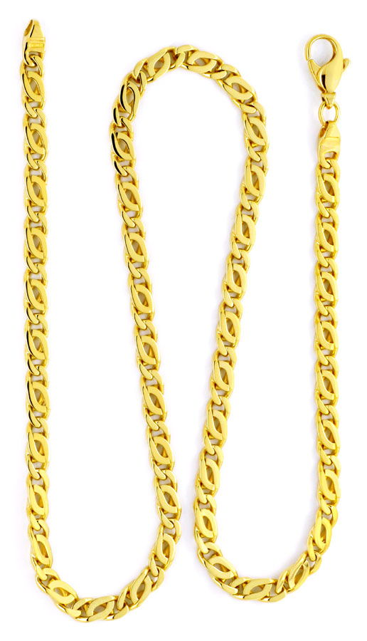 Foto 3, Goldkette, Pfauenauge Tigerauge, massiv 750 Gold Luxus!, K2154