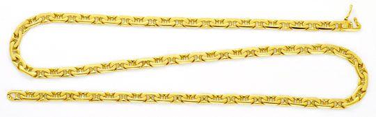 Foto 1, Massive Goldkette, gewölbte Steg-Flachpanzer 14K Luxus!, K2155