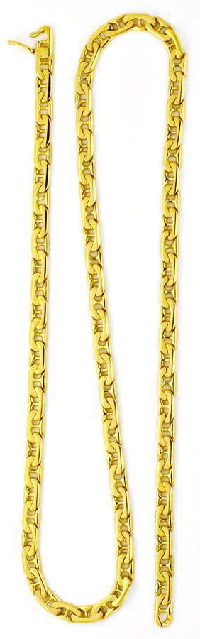 Foto 4, Massive Goldkette, gewölbte Steg-Flachpanzer 14K Luxus!, K2155