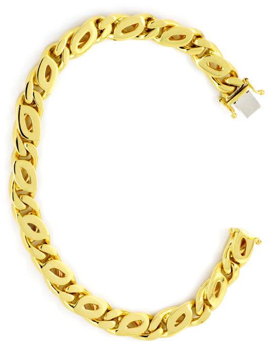 Foto 3, Goldarmband Pfauenauge Tigerauge massiv Gelbgold Luxus!, K2157