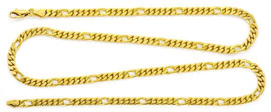 Foto 1, Figaro Flachpanzer Goldkette massiv Gelbgold Luxus! Neu, K2163