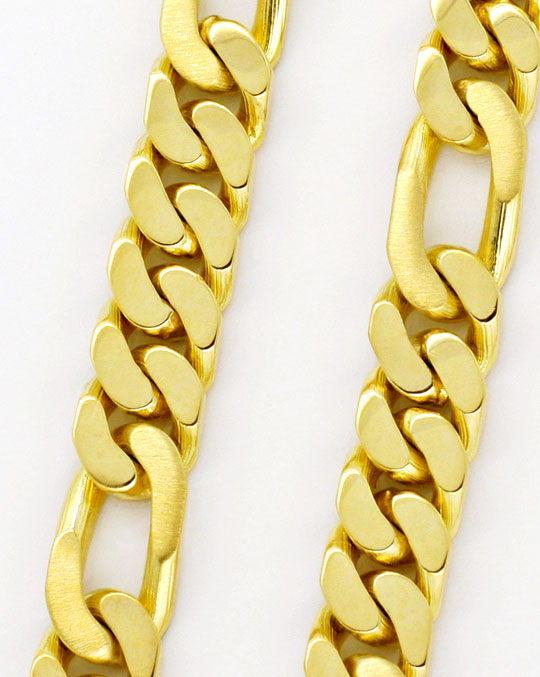 Foto 2, Figaro Flachpanzer Goldkette massiv Gelbgold Luxus! Neu, K2163