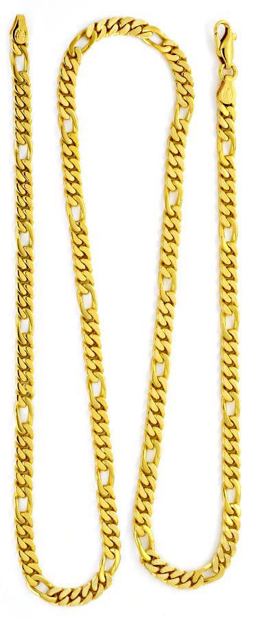 Foto 4, Figaro Flachpanzer Goldkette massiv Gelbgold Luxus! Neu, K2163