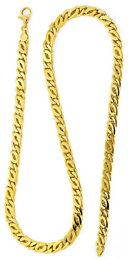 Foto 3, Massive Gelbgold-Kette Tigerauge Pfauenauge Neu! Luxus!, K2164