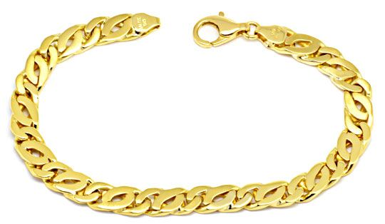Foto 1 - Gold Armband Tigerauge Pfauenauge Teil Mattiert, Luxus!, K2165